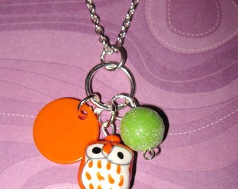 Owl Necklace Halloween Jewelry Owl Charm Pendant Cluster Silver Chain Fun Cute Halloween Accessory Free Shipping to US or Canada
