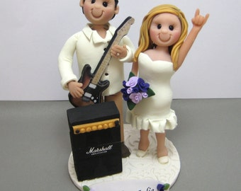 DEPOSIT for Custom made Polymer Clay Wedding Cake Topper Music guitar amp theme