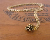 Gold Pinecone Charm Necklace Vintage Style by Alice Wears Gold