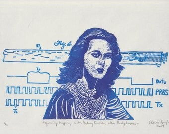 Hedy Lamarr Inventor of Frequency Hopping Spread Spectrum Linocut Portrait - Woman Scientist, Inventor and Hollywood Star Print Portrait