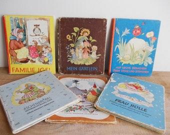 German Children's Books, 1940s Vintage Brothers Grimm & Folk Tales Illustrated: Mein Gartlein, Ida Bohatta-Morpurgo, Aschenbrodel, Hedgehogs