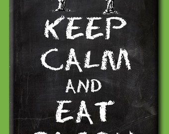 Keep Calm and Eat Bacon. Chalkboard style FRIDGE MAGNET