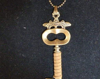 Leather Wrapped Key Pendant on Long Chain