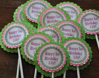 Green and pink cupcake toppers. Cupcake Toppers. Cupcake Picks. Bright Pink. Bright Green. Set of 12. Personalized. Luau. Tiki
