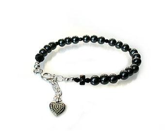 Hematite Bracelet ~  Black Bracelet ~ Root Chakra Bracelet ~ Little Black Bracelet  -  B2013-24A