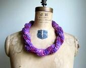 Knit Statement necklace Purple. Fuchsia . Boho Jewelry.