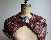 Knit Capelet  Marsala. Turquoise. Seafoam. Bird Button. READY to SHIP. Gift for her. Wrap. shawl. Brown Cape. Gift for mom, sister,wife.