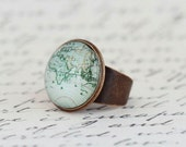 World Map Statement Ring -  Map Ring, Mothers Day Gift, Gift For Traveler, Map Jewelry, Novelty Ring, Gift For Woman, Adjustable Ring