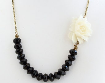 Flower Necklace - Black and White - White Rose Necklace - Black Agate - Floral Necklace - Black and White Wedding - Bridal Jewelry