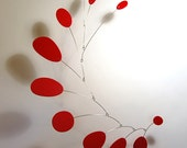 Modern Hanging Mobile Art Sculpture by Julie Frith all Red Multius Medium MCM Home Decor 27h x 21w