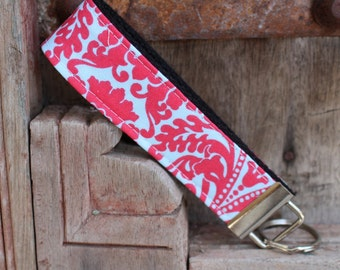 READY TO SHIP-Beautiful Key Fob/Keychain/Wristlet-Coral Damask on Black