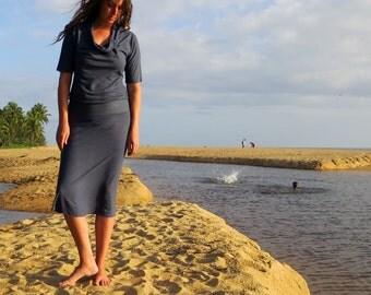 ORGANIC Vagabond Below Knee Dress (light hemp/organic cotton knit) - organic dress