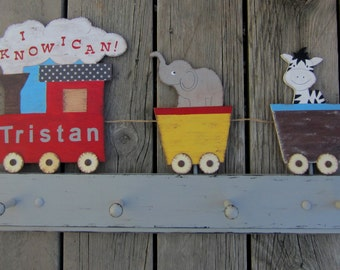 TRAIN Clothing Peg Rack Wall Hooks - Personalized Engine - Original Hand Painted Hand Crafted Wood