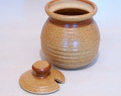 Honey Pot and Sugar jar In Warm Brown with a Brown Stripe pottery lidded jar