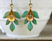 Green patina leaf  bohemian dangle earrings. Tiedupmemories