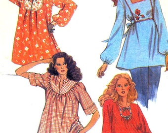 80s Boho tops vintage sewing pattern Retro style pattern McCalls 6970 Bust 32 to 34