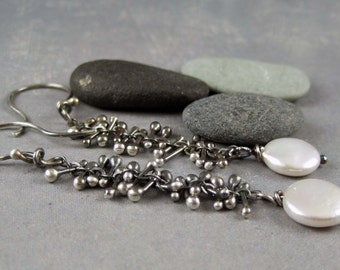 Oxidized sterling silver drop earrings, unique handmade jewelry, real pearl earrings, nickel free earrings, rustic sterling silver earrings