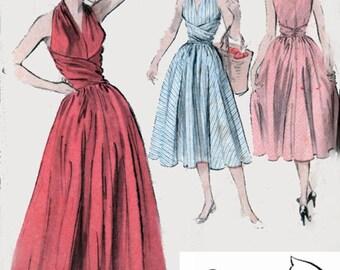 Vintage 1950s Wraparound Halter Midrfiff Dress, Evening Dress w/ Surplice Bodice Sewing Pattern Butterick 6338 ROCKABIILY Style Sz 18 B 36
