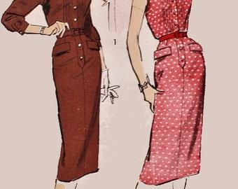 Vintage 1950s Sheath Dress Sewing Pattern Advance 8178 50s Rockabilly Plus Size Sewing Pattern Size 20 Bust 40 UNCUT