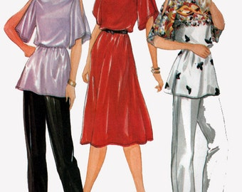 1980s Dress or Tunic w/ Pants Butterick 3553  Bateau Neckline, Kimono Sleeves w/ Slit opening at Shoulder Vintage 80s Sewing Pattern B38-40