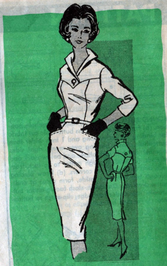 Vintage 1960s Mail Order Pattern 4906 Madmen Va Va Va VOOM Wiggle Dress with Stand up Collar Size 18