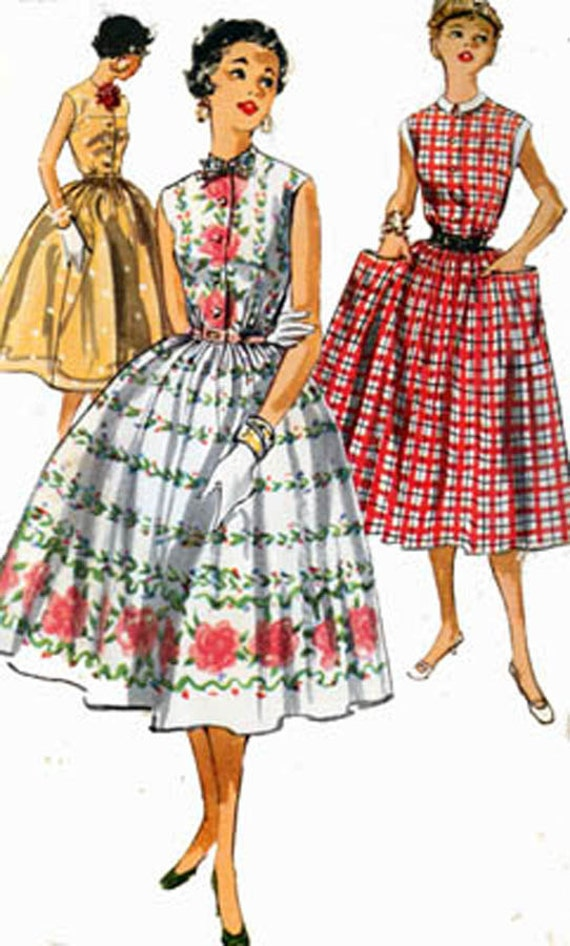 1950s Simplicity 1084 ROCKABILLY Sleeveless Dress Full Gathered Skirt  Vintage 50s Sewing Pattern Size 12 Bust 30