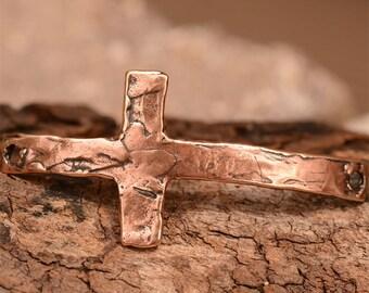 Sideways Cross Bracelet Link in Copper Rose Bronze 612d, Unconditional Love Cross