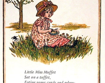 georgie porgie little miss muffet mother goose nursery rhymes 1980 vintage book page