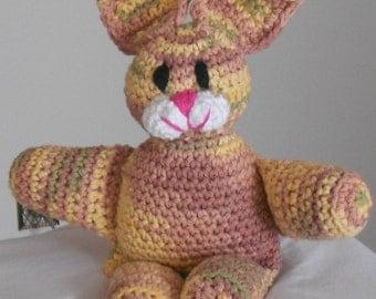 Crocheted Bunny Rabbit Stuffed Amigurumi Plush Animal in Pastel Sherbet Colors
