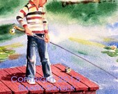 First time Fishing 8X10 watercolor print by Barry Singer