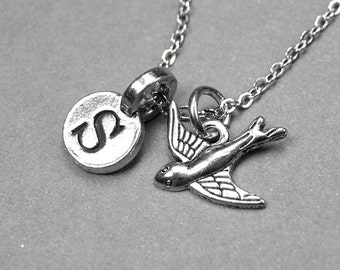 Bird Necklace, sparrow charm, swallow, silver plated pewter, initial necklace, initial hand stamped, personalized, monogram