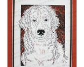 Bernese Mountain Dog Puppy Papercutting- Handcut Original, Watercolor Backing, *FINAL EDITION*