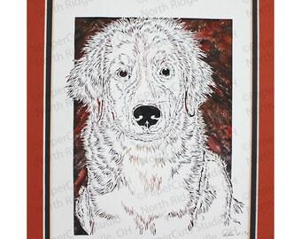 Bernese Mountain Dog Puppy Papercutting- Handcut Original, Watercolor Backing, *FINAL EDITION*