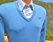 70s vintage golf sweater v-neck GARAN panther jumper light blue Medium Small grandpa soft 80s