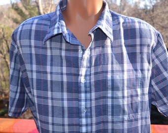 vintage 80s shirt PLAID short sleeve white navy button down campus hipster preppy XXL xl pastel madras soft thin americana