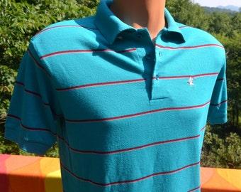 vintage 80s golf polo shirt stripe teal raintree DUCK collar Small Medium preppy charlotte hornets