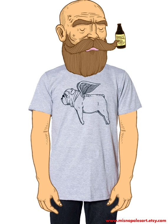 Flying Bulldog Mens T-Shirt Small, Medium, Large, XL in 7 Colors