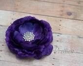 Purple  Flower Hair Clip Plum Flower Hair Clip Rhinestone Flower Hair Clip Ruffled Flower Hair Clip Headband