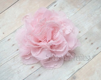 Pink Flower Hair Clip  - Shabby Chiffon and Lace Flower - With or Without Rhinestone Center