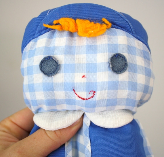 1977 Fisher Price Cholly Lolly Boy Rag Doll 419 Blue White