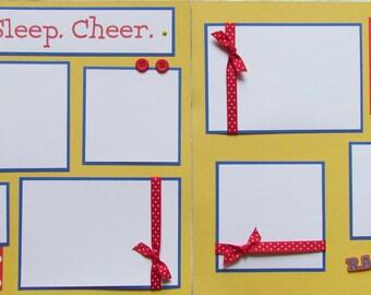 Premade 12x12 Scrapbook Pages - layout for cheerleader cheerleading -- EAT.SLEEP.CHEER. -- girl, tween teen, competition, high school album