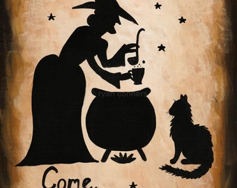 Bubbling Cauldron Witch Sign Original Halloween Cat Folk Art Painting