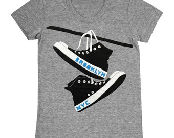 Converse - Womens Brooklyn New York NY NYC Shoes Retro Vintage Grey Triblend Track Chuck Taylor Cute GrayGirls T-shirt Tee Shirt Tshirt