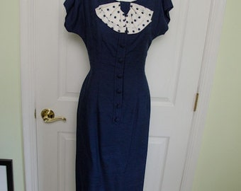 Vintage 1950s Navy Blue Wiggle Dress with Capelet