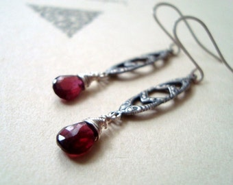 SALE Art Nouveau Garnet Earrings Antiqued Silver January Birthstone Valentines Jewelry Cranberry Red Romantic Gifts Under 40 Vintage Style