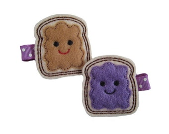 Peanut Butter and Grape Jelly Hair Clips ~ Girls Hair Clips ~  Girls Hair Accessories ~ Snap Clip, Alligator Clip or French Barrette 164