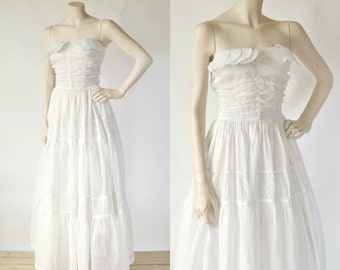 1940s Long Wedding Dress --- Vintage White Organza Party Dress