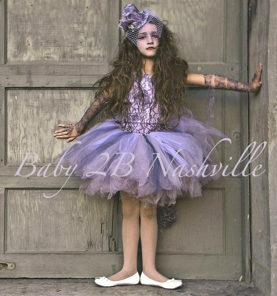 Victorian Ghost Costume in Lavender and Gray Tutu Set  All Sizes Baby -  Girls 10