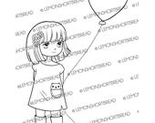 Digital Stamp Heart Balloon Girl, Digi Download, I Love You, Valentine's Day, Best Wishes, Happy Birthday, Thank You, Graphic, Clip Art