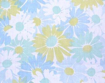 Happy vintage fabric in sheet form - best daisy flowers - blues greens yellow - Pequot
